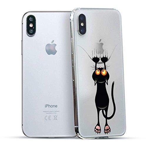 finoo | Iphone X Hard Case Handy-Hülle mit Motiv | dünne stoßfeste Schutz-Cover Tasche in Premium Qualität | Premium Case für Dein Smartphone| Love Laugh Live Katze lang