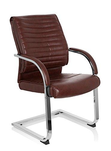 Besucherstuhl VISITER CL120, Schreibtischstuhl mit Armlehnen, Freischwinger zum Arbeiten & Relaxen im Büro,ergonomischer Schreibtischstuhl Sessel für das Home Office, Kunstleder braun MyBuero 725015