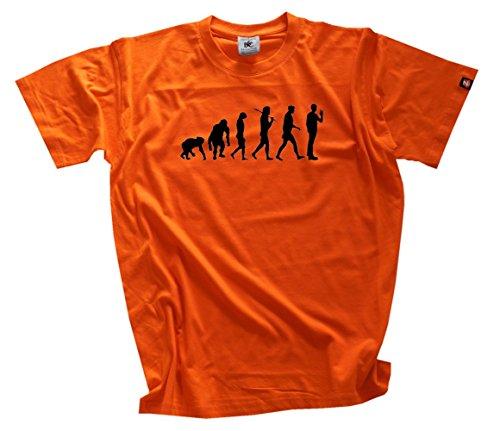 Shirtzshop–Maglietta Evoluzione, edizione standard The Big Bang Theory, Uomo, Standard Edition The Big Bang Evolution Theory T-Shirt  XXL, grigio, XXL arancione
