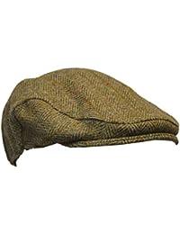 2dc6efbb801c6 Walker   Hawkes - Uni-Sex Derby Harris Tweed Herringbone Flat Cap - Moss  Green
