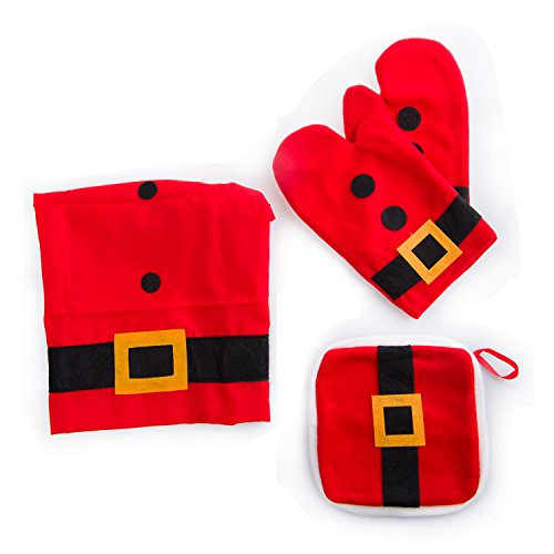 4pezzi set grembiule guanto presina rosso costume di babbo natale style cooking baking christmas xmas decoration gift pinafore