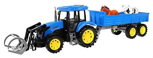 Spielzeugauto Landwirtschaftlicher LKW Realistischer Traktor mit beweglichen Teilen + Anhänger und Tiere - Ton und Lichteffekte - Blau