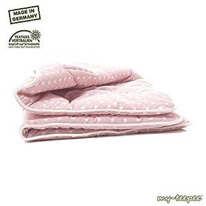 Dicke Spieldecke, Bezug 100% Baumwolle, Größe ca. 100 x 100 cm, rosè mit weißen Punkten