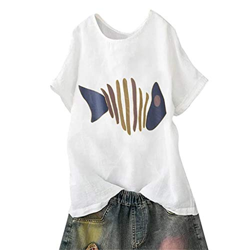 Frauen Print Kurzarm Baumwoll T-Shirt,Zolimx Frauen Casual Plus Size Kurzarm Baumwolle Leinen O-Neck Print Bluse Top T-Shirt -