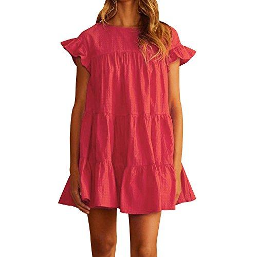 VJGOAL Damen Kleider, Frauen Sexy Casual Ruffle Kurzarm Minikleid Abend Partykleid Sommer Volltonfarbe Mode Wild Dresses for ()
