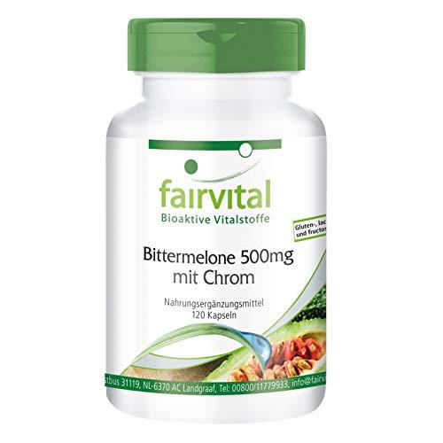Bittermelone 500mg mit Chrom - für 40 TAGE - HOCHDOSIERT - VEGAN - 120 Kapseln - mit 10% Charantin