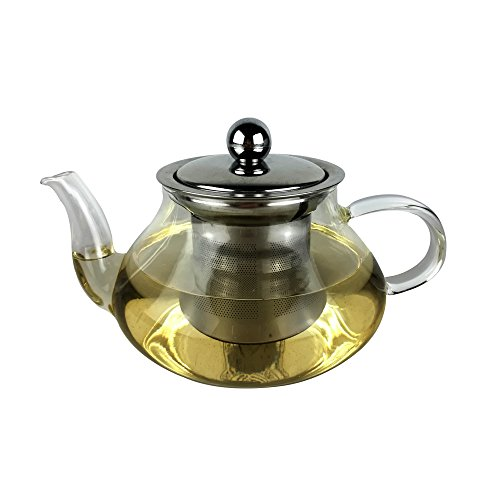 Octavius Medium Glass Kettle with Removable Stainless Steel Infuser and Lid for...