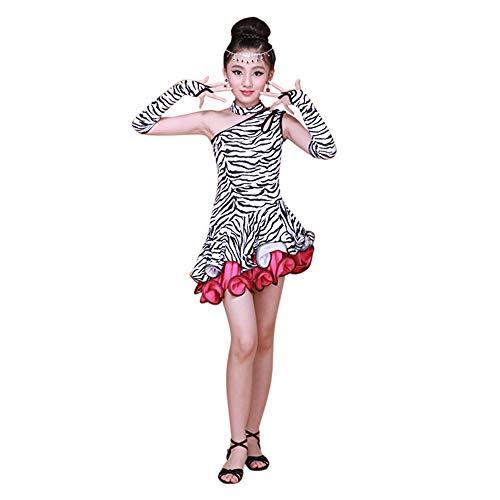 Lonshell Mädchen Latin Kleid Tanz Kostüm 4-teiliges Set Leopard Tanzkleid mit Leggings Halskette Ärmel Salsa Tango Rumba Tanzkostüm Performance Kleidung für 2-13 Jahre - Tanz Performance Kostüm Mädchen