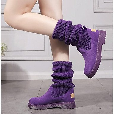 Stivali da donna Comfort Comfort Silicone Spring Comfort Fuchsia Purple Nero Flat Fuchsia