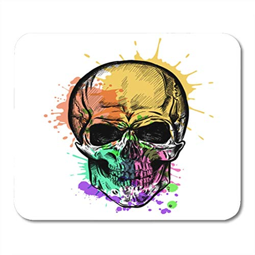 Tattoo-lynx (Gaming Mauspad Gothic Skull Sketch with Watercolor Effect Hipster Tattoo Abstract Aquarelle Blots 11.8