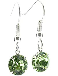 pewterhooter drop earrings made with sparkling Peridot Green crystal from SWAROVSKI®. London box.