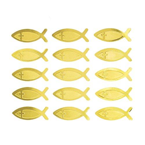 Oblique Unique® Fisch Kreuz Sticker Gold Glänzend 15 STK. selbstklebend Aufkleber für Kommunion Konfirmation Taufe Deko