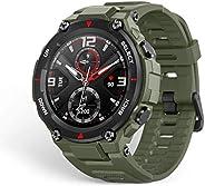 الساعة الذكية تي-ريكس من اميزفت، موثقة بشهادة عسكرية ببنية متينة ونظام تحديد المواقع العالمي جي بي اس وبطارية
