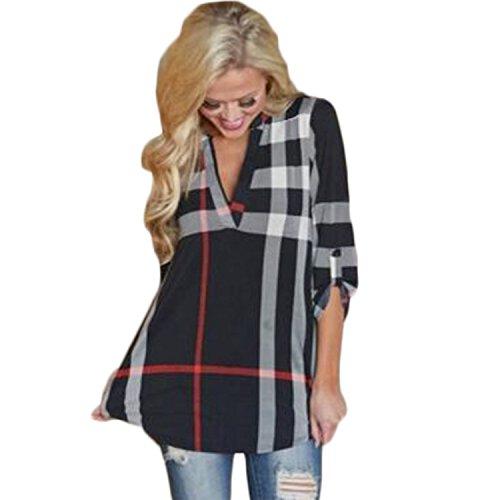 Wvsender Damen Boho Print Plaid Hemden 3/4 Armel Bluse T-Shirt Oberteile Tops (EU 38(M), Schwarz)