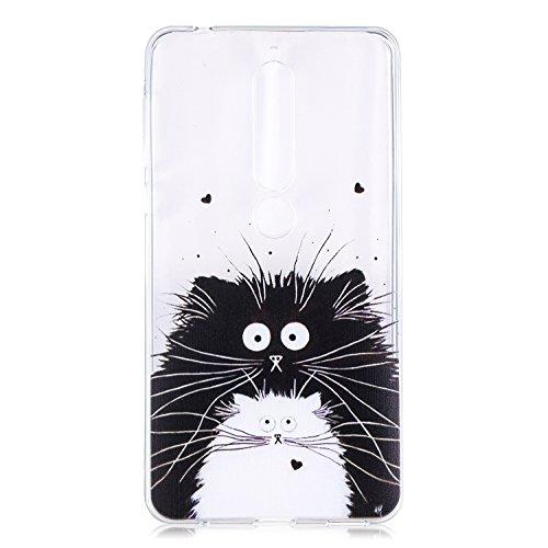 HopMore Nokia 6 (2018) Hülle Silikon Transparent Durchsichtig Hüllen Clear Muster Design Bumper Ultra Slim Dünn TPU Motiv Handyhülle Kawaii One Piece Cover Case Nokia 6 (2018) - Schwarze Katze