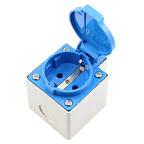 P12cheng 16A 250V IP44 EU-Stecker, wasserdichte Steckdose für Badezimmer im Freien Stecker für Schuko Blue+White -