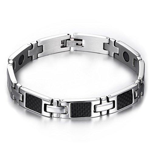 Vnox 9 millimetri delle donne degli uomini del nero dell'acciaio inossidabile fibra di carbonio 4 in 1 terapia magnetica Bracelet Silver Black, 20 centimetri di lunghezza