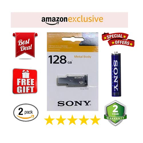 Sony USM128MX 128GB USB 2.0 Pen Drive (Silver) Buy one pendrive get one Cell 1+1 2 Pack