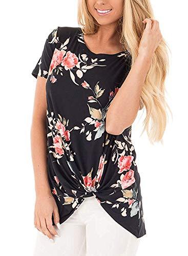 Stretch Tunika Bluse (Damen T-Shirt Sommer Top Asymmetrisch Bluse Einfarbig Kurzarm T-Shirt Casual Bluse Tunika Tops Blumendruck Schwarz S)