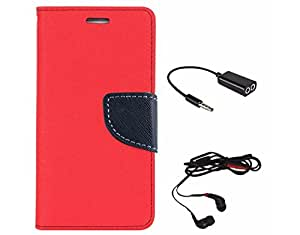 Avzax Diary Look Flip Wallet Case Cover For Lenovo A6000 (Red) + Audio Cable Splitter + In Ear Headphone