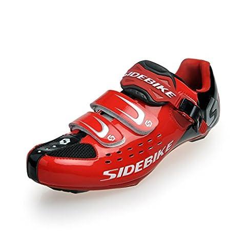 SIDEBIKE Road Comp Race Shoe Road Bike Shoes (Black Red, EU 45 ( UK 11 ))