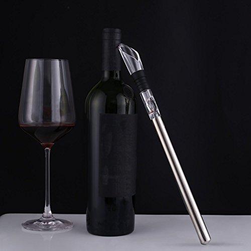 Vertedor de Vino con varilla de enfriamiento 3-en-1, Acero Inoxidable Enfriador de Vino para Fiesta y Celebracón de Familia y Restaurantev. Kealive.
