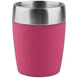 Emsa Travel Mug - Taza térmica de 0,2 l, mantiene la temperatura, acero inoxidable con base antideslizante y zona de agarre de silicona con letras grabadas, color rosa