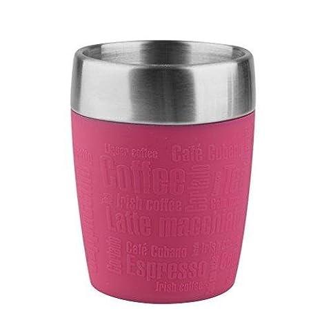 Emsa 514517 TRAVEL CUP tasse isotherme, mug avec couvercle, revêtement silicone, 200ml, Framboise