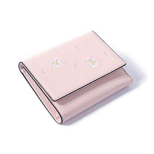 CLOTHES- Portafoglio Donna Versione coreana del raccoglitore breve Mini raccoglitore sveglio di tre raccoglitori della borsa della moneta ( Colore : Nero ) Rosa