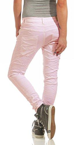 Fashion4Young 11424 LEXXURY Damen Jeans Röhrenjeans Hose Boyfriend Baggy Haremscut Damenjeans Slim-Fit (Altrosa, L-40) -