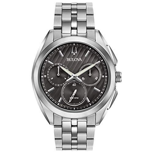 Bulova Herren Chronograph Quarz Uhr mit Edelstahl Armband 96A186 - Grau Uhr Herren Bulova