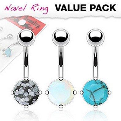 3 pezzi confezione multipla Prong Set pietra preziosa della barra della pancia Piercing Spessore: 1.6mm Lunghezza: 10mm Materiale: acciaio chirurgico