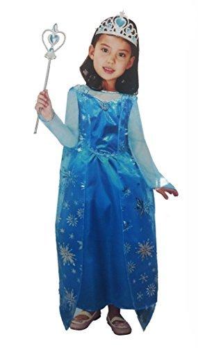 ostüm Elsa L (120–130cm) Kleid Kleid Kostüm Prinzessin Eis Schnee Königin Mädchen Kinder Mädchen (Schnee Königin Prinzessin Kleid Kostüme)