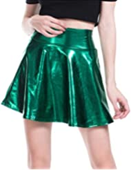 Harddo Fashion Women High Waist PU Leather Mini Skirts Pleated Skirt, Leather PU Glitter Skirt Mini Flared Skater Skirt
