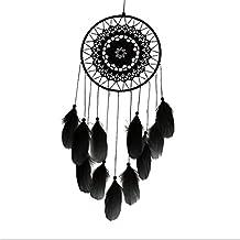 Ouneed® Plume Cercle de Attrape-rêves Chambre Deco D= 20cm L=50cm (Noir)
