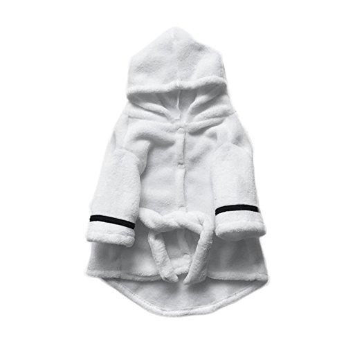 Perros de baño para mascotas Bañador blanco engomado Suave toalla de baño absorbente pijama con cinturón para perros medianos pequeños Perros L