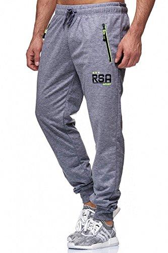 Pantaloni Uomo sudore Pantaloni Zip lungo H1839 Dunkelgrau