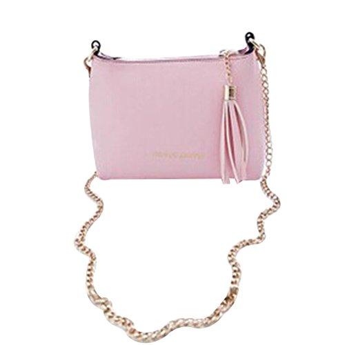 BESTOYARD Kette Umhängetasche Shell Handtaschen Damen mädchen Valentinstag Geschenk PU Leder Schultertasche Crossbody (Lila) Rosa
