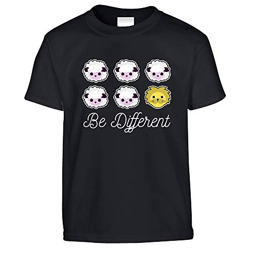 Neuheit Kinder T-Shirt Be Different Cartoon-Schaf-Slogan Black Ages 3-4, 28