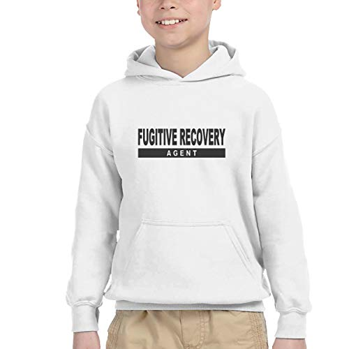 Youth Children's Pocket Hooded Sweatshirt Fugitive Recovery Agent 3 New Classic Minimalist Style White 5/6T - Agent Hooded Sweatshirt