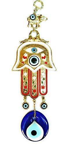 Mano de Fátima para buena suerte roja con ojo turco 26cm x10cm