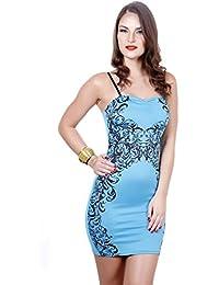 Exotic Print Midi Dress- Blue