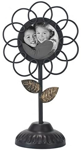 Malden International Designs Ironworks Metal Flower Pedestal Bronze with Gold Accents Picture Frame, 3x3, Bronze by Malden International Designs