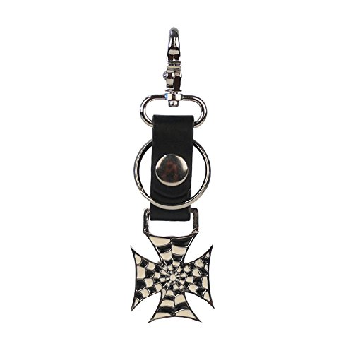 Rockabilly ∣ Biker-Rocker-Schlüsselanhänger-Schlüsselbund-Schlüsselring∣ Kreuz Antique ∣ hochwertige Verarbeitung ∣ 3cm Hoch x 4,5cm Breit ∣ 100% Metall (76007-505-000, 4 cm Hoch x 4 cm Breit)