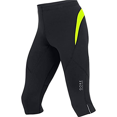 GORE RUNNING WEAR Homme Collant de course fonctionnel, jambes 3/4, Respirant, GORE Selected Fabrics, ESSENTIAL 3/4, Taille L, Noir/Jaune fluo, TESSNT