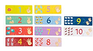 Small Foot 10679Aprendizaje Puzzle de Madera, números localice Escoge los Motivos Multicolor, Jugador isch Contar Aprendizaje, Fomenta la concentración y motricidad Fina