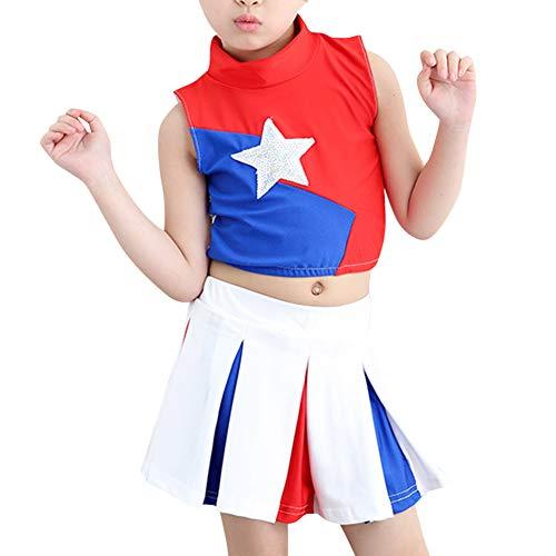 Tenthree Kinder Cheerleading Uniform - Jungen Mädchen Cheerleader Kostüm Sportwettbewerb Sterne Tanz Tops + Rock Oder Kurze ()