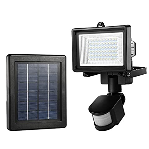 LE 60 LED Solar Flood Light, Outdoor PIR Motion Sensor Security Light, Waterproof High Output Wall Light, Solar Panel with 5 Meters Extend Cable