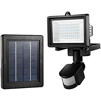 le 60 led solar flood light outdoor pir motion sensor security light waterproof high output wall light solar panel with 5 meters extend cable
