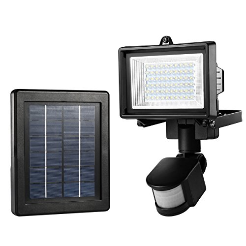 LE Solarfluter, Solarleuchte mit Bewegungsmelder 6000K Kaltweiß Solar betrieb Flutlicht IP65 wasserdicht Strahler mit Solarzelle ideal für Veranda Garten Garagenhof Aussenbeleuchtung